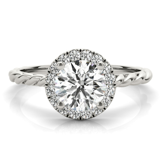 Diamond Halo Rope Engagement Ring