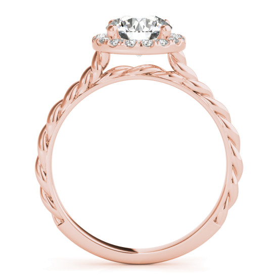 Diamond Halo Rope Engagement Ring Rose Gold