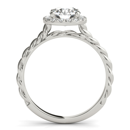 Rope Engagement Ring with Diamond Halo