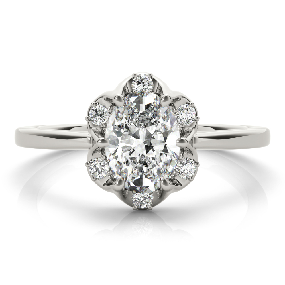 Floral Crown Oval Engagement Ring