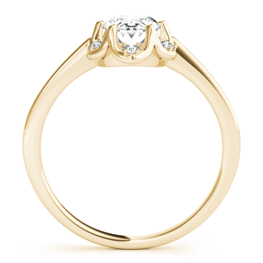 Floral Crown Oval Engagement Ring Yellow Gold