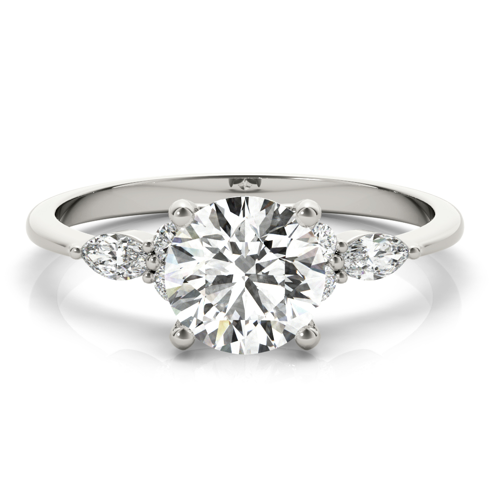 Floral Marquise Diamond Engagement Ring