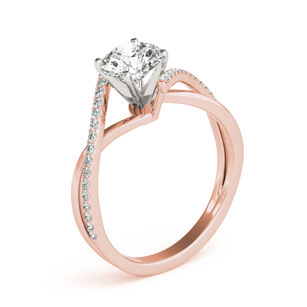 Swirl Intertwined Split Band Engagement Ring Rose Gold