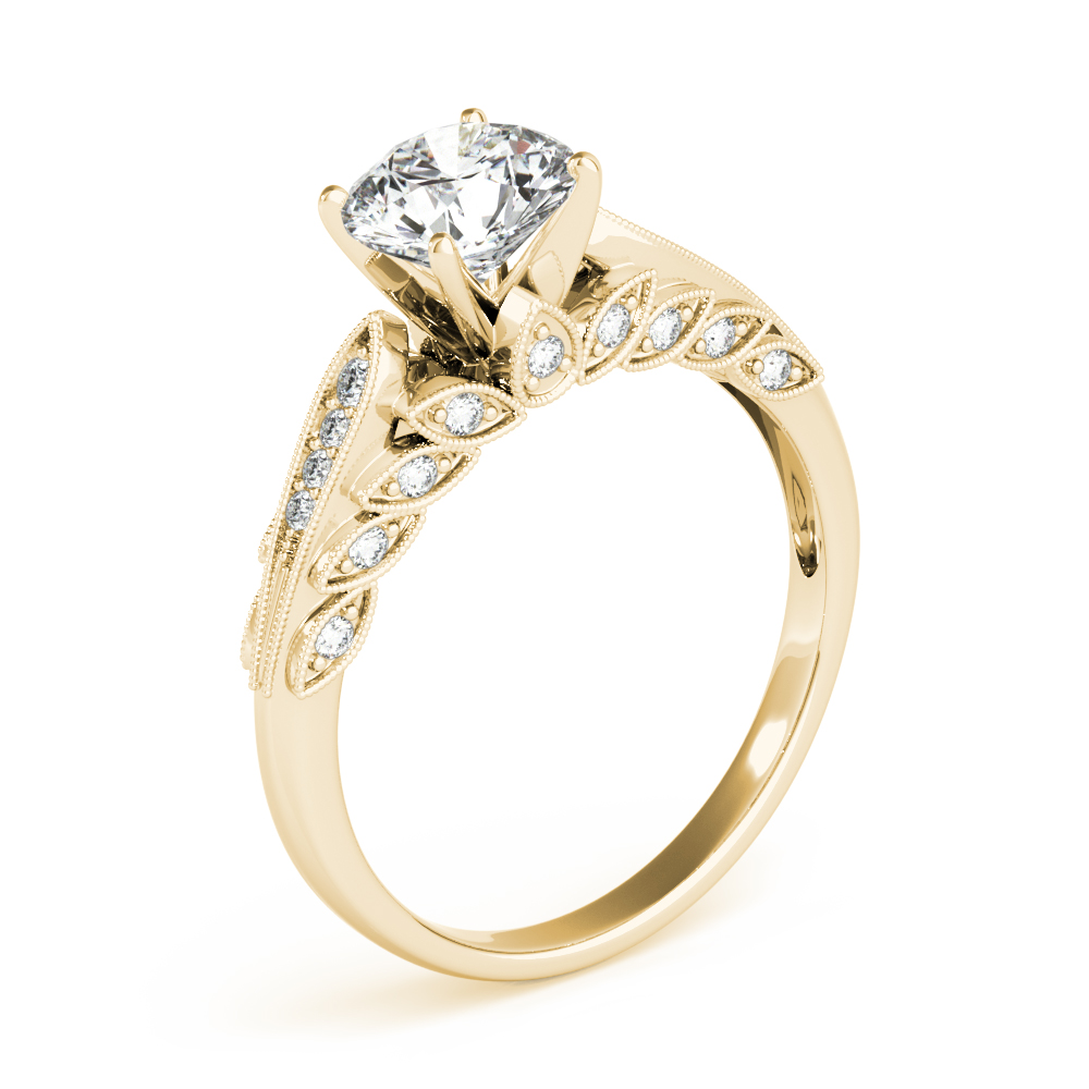 Journey Floral Diamond Engagement Ring Yellow Gold