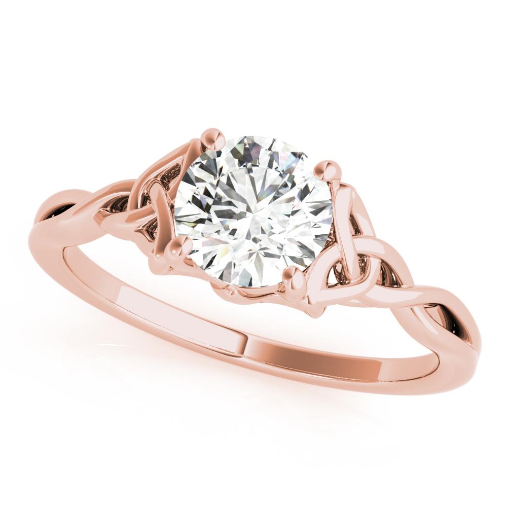 European Engagement Ring Solitaire Celtic Engagement Ring Rose Gold Eres2539rg