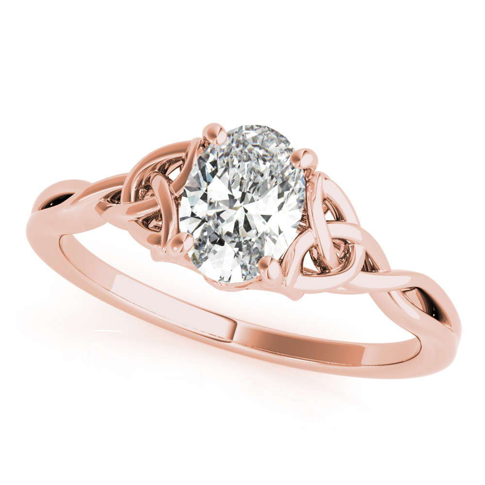 Oval Solitaire Celtic Engagement Ring Rose Gold