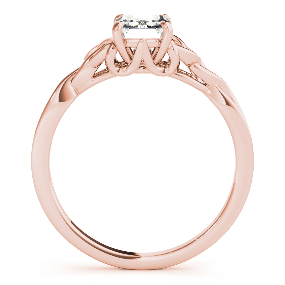 Emerald Solitaire Celtic Engagement Ring Rose Gold