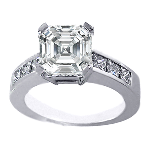 Asscher Diamond Engagement Ring Six Princess Diamond Accents 0.58 tcw. In 14K White Gold