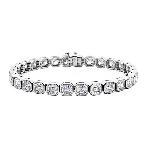 17 Carat Asscher Cut Diamond Tennis Bracelet G-H VS