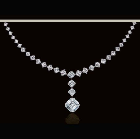 Asscher Cut Diamond Graduated Tennis Necklace 5.62 tcw.