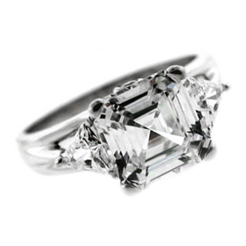 Asscher Diamond Engagement Ring with Trillion Diamond Accents 0.42 tcw. In 14K White Gold