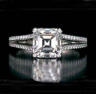 Engagement Ring Asscher Square Cut Diamond Split Band Engagement Ring Setting 0 64 Tcw Es26ac