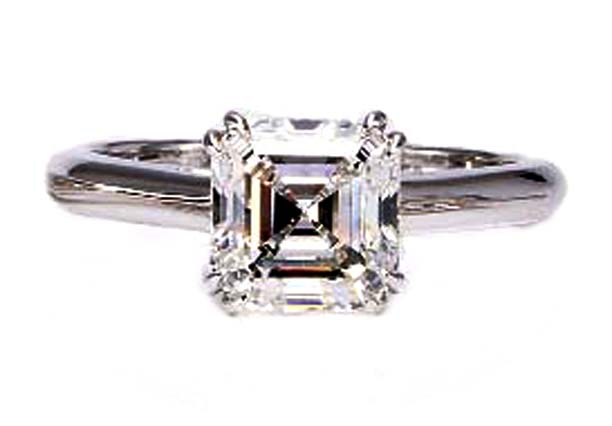 Double Prongs Solitaire Asscher Diamond Engagement Ring in 14K White Gold