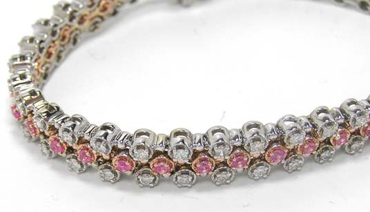 Three Carat Round Cut Diamonds - Pink Sapphire Bracelet
