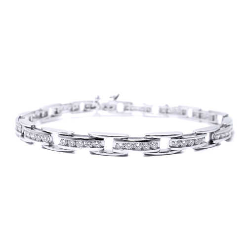 1.94 Ct 14K White Gold Round Diamonds Rolex Bracelet