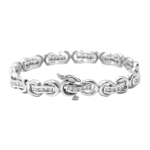 1.80 Ct. 14K White Gold Round Diamonds Bracelet F VS