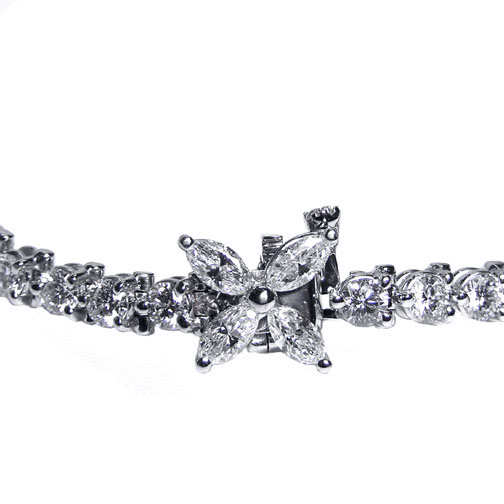 Round Diamond Victoria Bracelet with Flower Lock, 3.5 tcw.