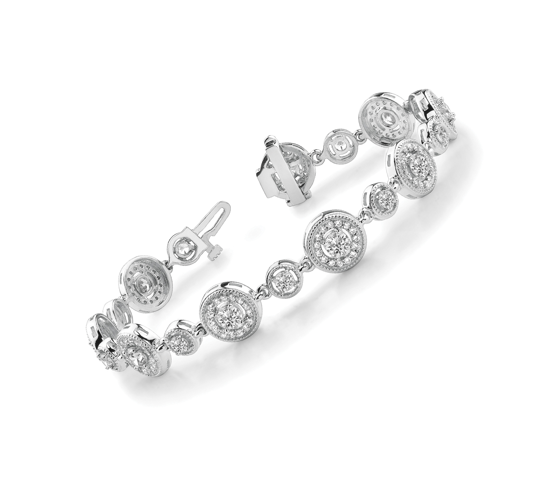 Round Diamond Vintage Halo Bracelet 3.0 ct.