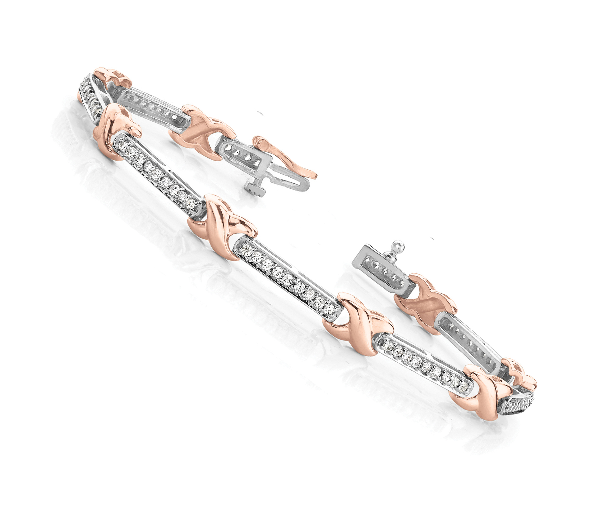X and Bar Bracelet Channel Diamonds 1.8 CT. Rose & White Gold