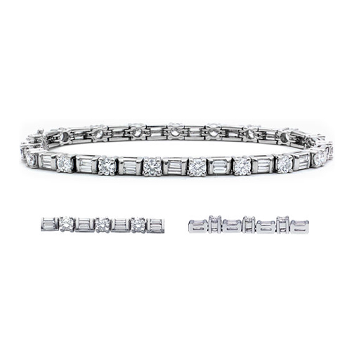 Bracelet 5 5 Carat Round and Baguette Cut Diamond Bracelet H VS