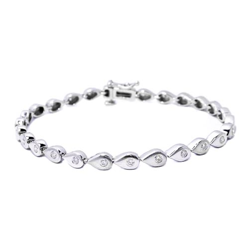 1.10 Ct. 14K White Gold Round Diamonds Bracelet F VS