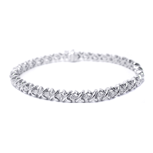 1.50 Ct. 14K White Gold Round Diamonds XO Bracelet