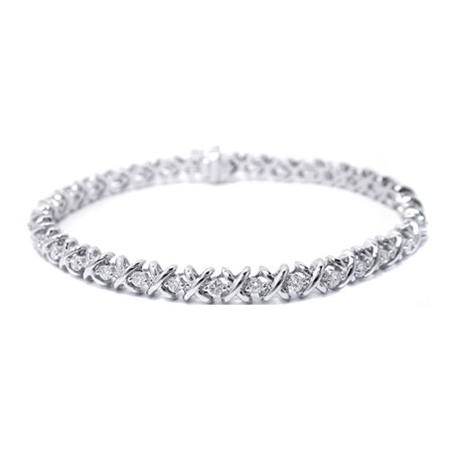 1 50 Ct 14k White Gold Round Diamonds Xo Bracelet