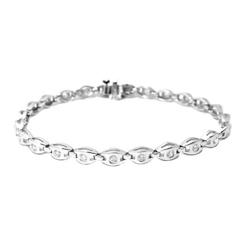 1.20 CT. 14K White Gold Round Diamonds Bracelet G VS