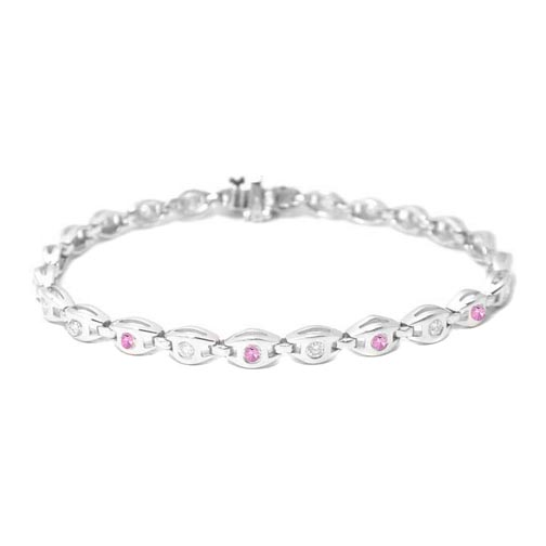 1.20 Round Diamonds and Pink Sapphire Bracelet