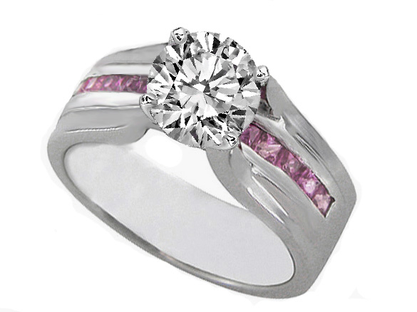 Diamond Bridge Engagement Ring with Pink Sapphire In 14K White Gold