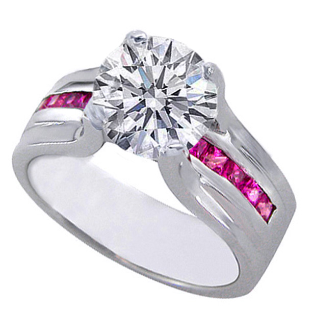 Round Diamond Bridge Engagement Ring with Pink Sapphire In 14K White Gold