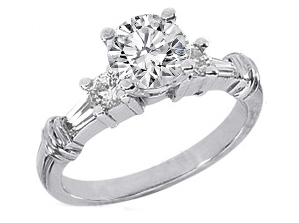 Round diamond engagement ring setting with round and Tapered Baguette Diamonds 0.4 tcw. In 14K White Gold