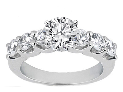 Six Stone Diamond Engagement Ring 0.3 tcw. 14K White Gold