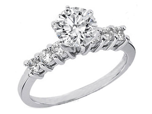 Round Diamond Engagement Ring Setting with six side stones 0.3 tcw. 14K White Gold