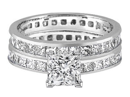 Princess Diamond Eternity Engagement Ring & matching wedding band Bridal Set 6.29 tcw. In 14K White Gold