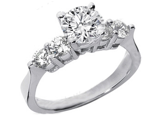 Round Diamond Engagement Ring Setting with four side diamonds 0.60 tcw. In 14K White Gold