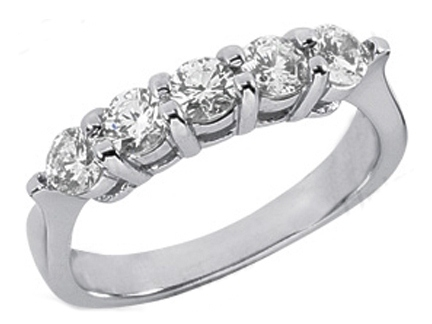 Five Stone Diamond Wedding Band, 0.75 tcw. Prong Set In 14k White Gold