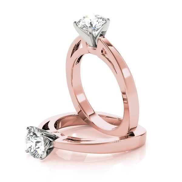 Classic Cathedral Solitaire Bridal Set in Rose Gold with Square Band