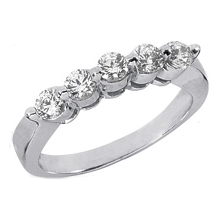 Five Stone Diamond Wedding Band, 0.50 tcw. Prong Set In 14k White Gold