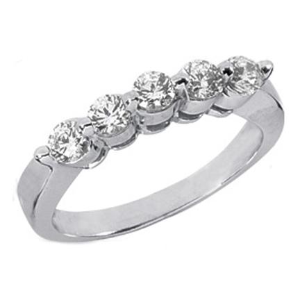 five stone diamond wedding band tcw prong set in 14k white gold