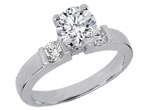 Round Diamond Engagement Ring Setting with two round diamonds side stones 0.30 tcw. In 14K White Gold