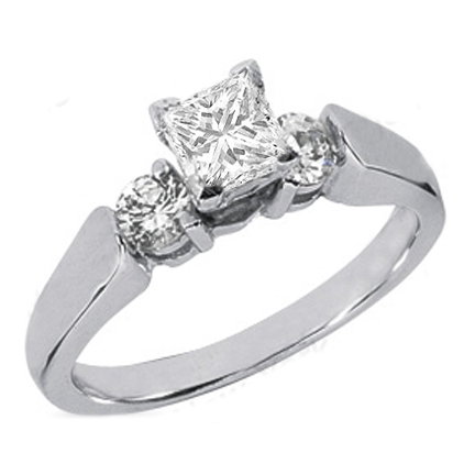 Princess Diamond Engagement Ring Setting with two round diamonds side stones 0.3 tcw. In 14K White Gold