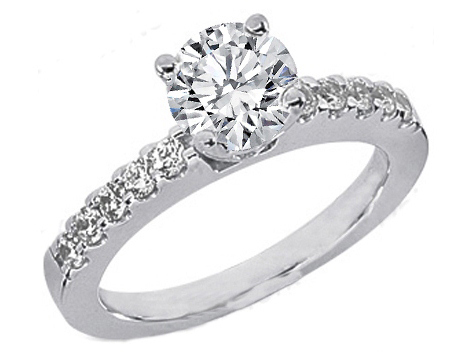 Round Diamond Engagement Ring Setting with ten diamonds band 0.3 tcw. 14K White Gold