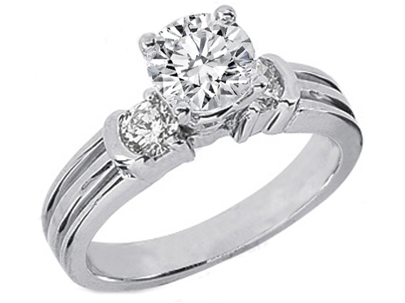 Round Cut Semi-Bezel Set Diamond Engagement Ring Setting 0.4 tcw. In 14K White Gold