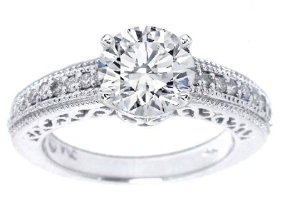 Filigree Vintage Diamond Engagement Ring in 14K White Gold