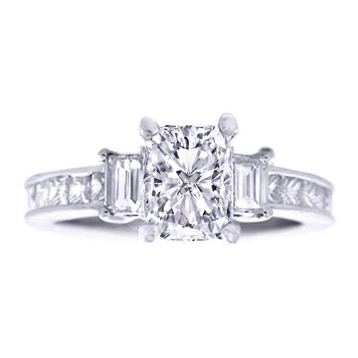 Three Stone Cushion and Princess Cut Diamond Engagement Ring 1.13 tcw.