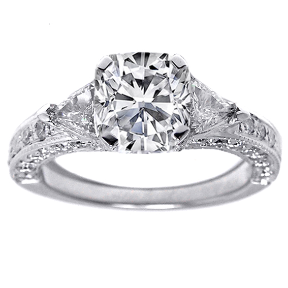 Cushion Diamond Vintage Pave Engagement Ring trillion accents 1.20 tcw. In 14K White Gold