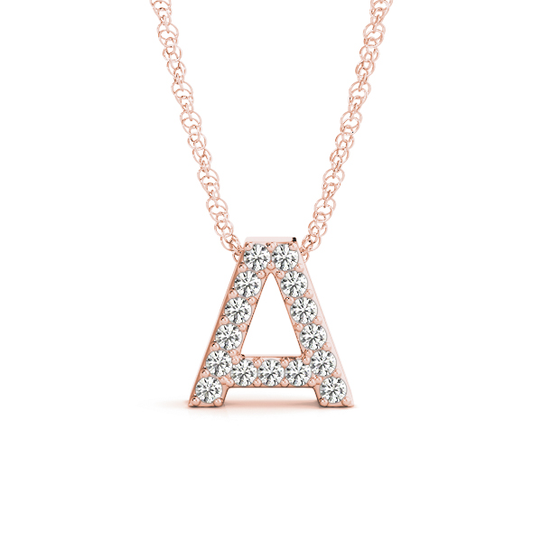 Diamond Letter A Pendant Rose Gold