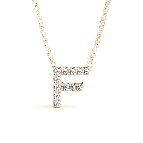 Diamond Initial F Pendant Yellow Gold
