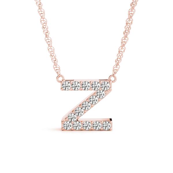 Necklaces and Pendants - Diamond Letter Z Pendant Rose Gold - PD269RG-Z
